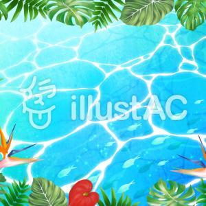 フリーイラスト素材:熱帯植物と海(横と縦)・2