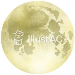 フリーイラスト素材:水彩風な満月