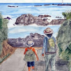 水彩画 (4) 『親子の夏』