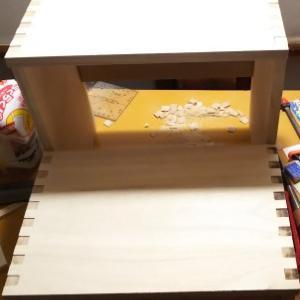 踏み台製作、あられ組み継ぎ、蟻組み継ぎに初挑戦2