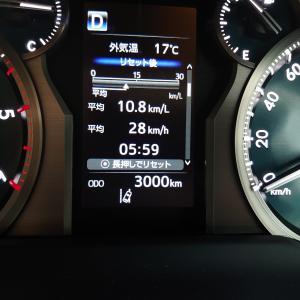 ランドクルーザープラド、購入から約2か月で走行距離3,000km到達。