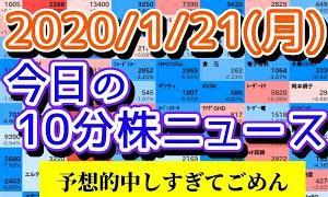 【WIZE】 《Youtube株式動画ニュース》【JumpingPoint!!の10分株ニュース】2020年1月20日(月)