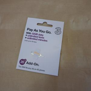 イギリスでSIM使うならこれ!日本で事前購入・設定が出来るThreeのSIM 30日/データ12GB/通話3000分・他約60地域 データ12GB コミコミパック