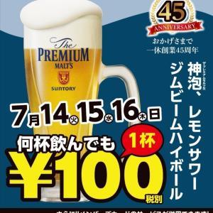 居酒屋一休 ビールほぼ半額イベント 武蔵境駅ほか