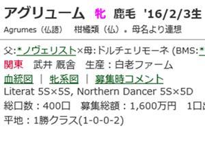 ☆2016年度産駒_20200407(アグリューム)☆