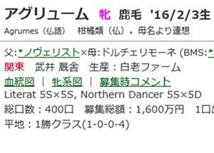 ☆2016年度産駒_20200806(アグリューム)☆
