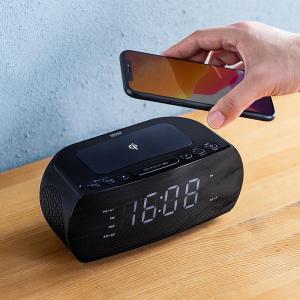 デジタル時計・FMラジオなどがついた多機能なワイヤレス充電器「400-WT001」