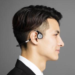 長時間装着しても耳が疲れにくい、Bluetoothのオープンイヤー形状の骨伝導ヘッドセット「400-BTSH019BK」