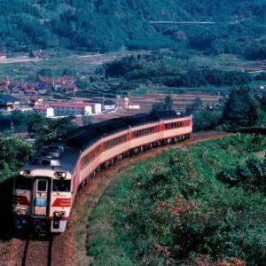 181系おき 山口線内のSLアングルで 1985年11月3~4日