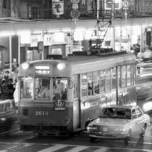 鉄道 京都市電 四条河原町 夜景 1977.9
