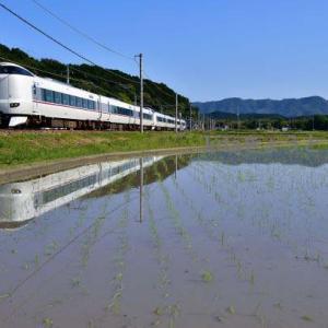 千代川にも水が入り始めました。223系R1が映る水鏡 2021.6.1