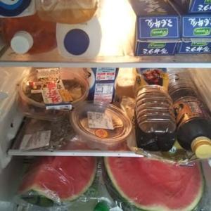 スーパーフレスコ駒川店でスイカひとたま980円+税で買いました。半分に切ると冷蔵庫に入りました。連日1/4切を仏壇に供えています。