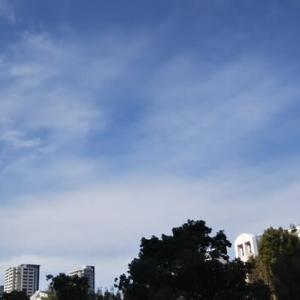 大阪天王寺区上空本日ぎょえぎょえ地震雲。昨日の浪速区上空ぎょえぎぇ地震雲に続き本日も。
