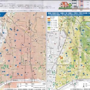 大阪市の水害ハザードマップが駒川の自宅マンションにも中野の実家にも入っていました。自宅もマンションも大和川氾濫以外は被害はこうむりません。