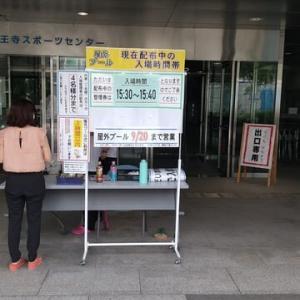 本日は真田山プール今季最終営業日。大阪市の最高気36.6度。熱い暑い。本日23年の歴史で初めて最終営業日に入場制限。1時間15分待ち。