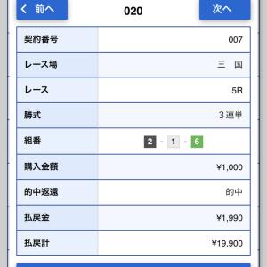 三国5R1.990円的中!3月19日の競艇予想