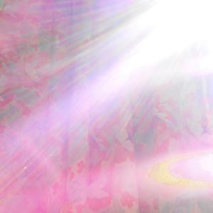 後光風太陽曼荼羅と爆発気味の光り(レンズフレア)紫からピンク、金色。(19.8.24.土)