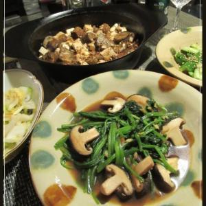 麻婆茄子豆腐ほうれん草のオイスター炒め