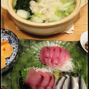 餃子鍋とお刺身の夕食
