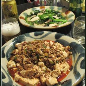 麻婆豆腐とほうれん草炒め~の半ラーメン