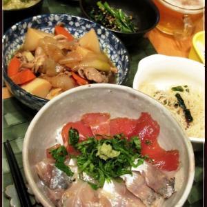 漬け丼と春菊のナムル