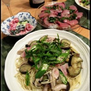 在宅の相方が作ってくれました♪夏野菜の和風スパゲティ