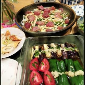 結婚記念日は夏の香味野菜たっぷり☆鮪のてこね寿司
