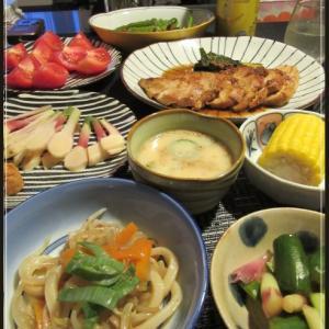 鶏むね肉の生姜焼き☆夏野菜つまみを並べる