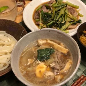 極太うどんの豚肉つけ麺と小松菜炒め
