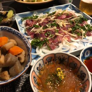 相方作☆鰹のお刺身とポテサラと筑前煮