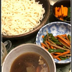 すき煮の残り汁と煮物の残りでけんちん風のおうどん