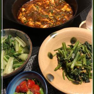 麻婆豆腐と空芯菜炒め