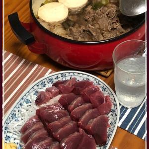 実家の父作☆すき煮と鰹のお刺身