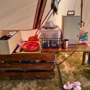 【DIY】キャンプギア用ウッドボックスの蓋をテーブル化して有効活用!