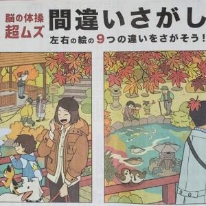 日経新聞11月22日付 AR脳の体操 「超ムズ」間違いさがし 「紅葉狩り」篇。 絵のかわいさに気を取られて注意散漫でした。