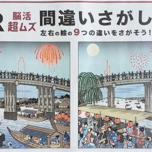 日経新聞2021年7月25日付 AR 脳活 超ムズ 間違いさがし「江戸の花火」篇。いつも以上に細かすぎて目がチカチカする!