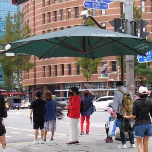 ソウルの交差点の大きなパラソル