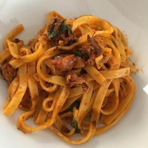 【簡単ランチ】サバ缶トマト煮でパスタとインスタ映えゼリー