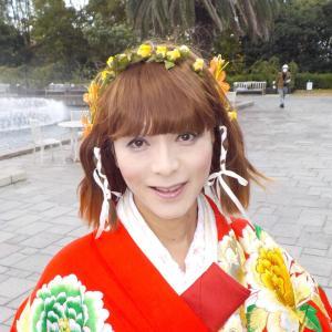 赤い打掛の着物で散策動画、神戸須磨離宮公園