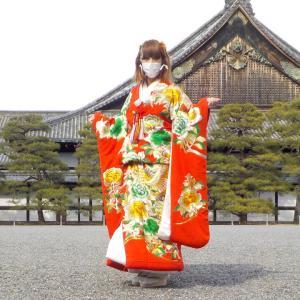 京都二条城を打掛振袖を着て散策。
