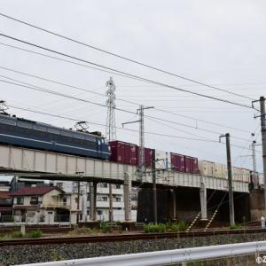 百済タから戻ってきたEF66 27号機を城東貨物線の東海道本線クロスで撮影です(R3.9.13)