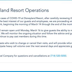 新型コロナウィルス ディズニーランドも、ついに休園に