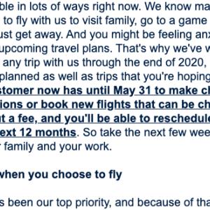 新型コロナウィルス:ユナイテッド航空からのメール