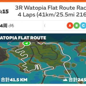 4/12  zwiftレース (watpiaFLAT 4周)