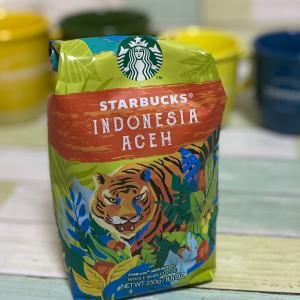 スタバコーヒー豆の袋…インドネシア アチェ