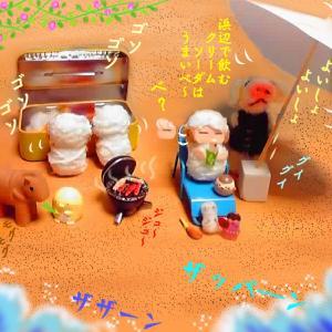 写真4コマ漫画・キャンプから海水浴~♫