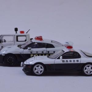 1/64 パトロールカー3台並べて撮影してみましたRX-7、GT-R、ジムニー、パトロールカー