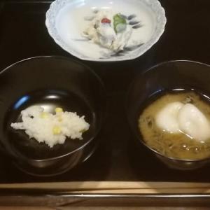 朝茶事の献立 温泉卵やめました 夏野菜で ・・・