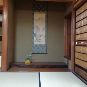朝茶事 待合の床 夏山水と九代吉向松月さんの 黎明花器