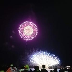 宍道湖の花火 バイクで …